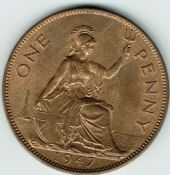 George VI, One Penny 1947, AUNC, M9004